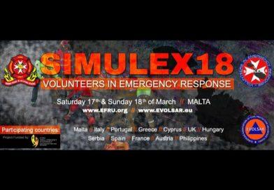 Συμμετοχή στην διεθνή, 24ωρη άσκηση Μαζικών Καταστροφών SIMULEX18